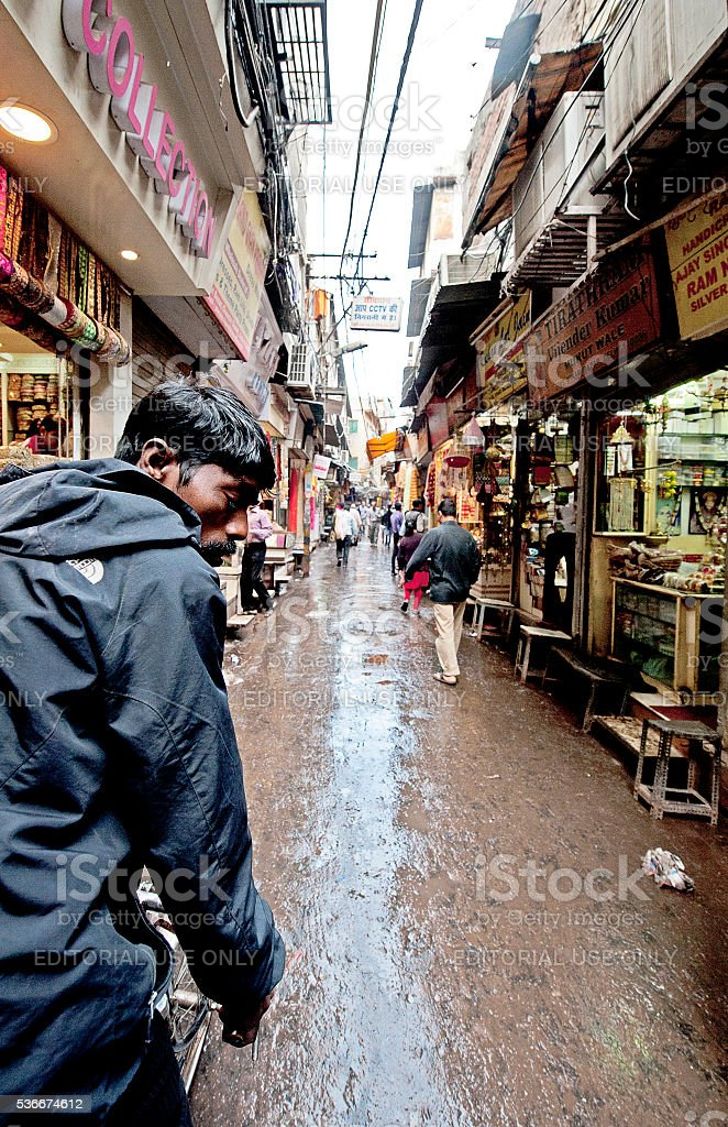Monsoon bazaar, Old Delhi, India stock photo