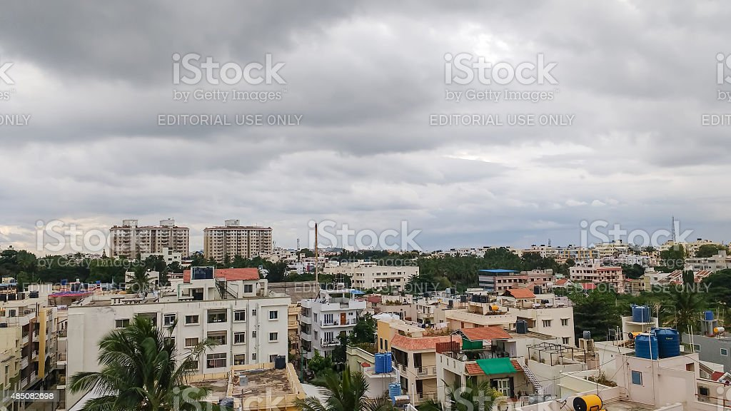 Monsoon clouds over Bangalore, India stock photo