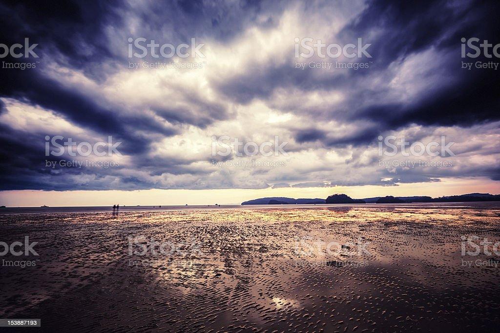 Monsoon, Dramatic Sky Over The Beach royalty-free stock photo