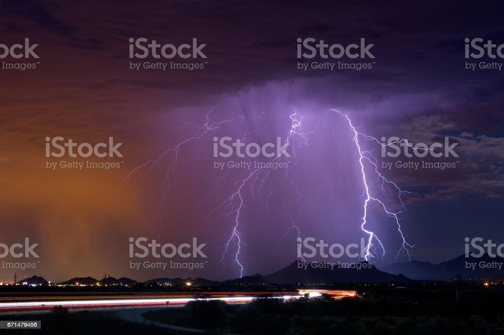 Monsoon lightning storm over Tucson, Arizona stock photo