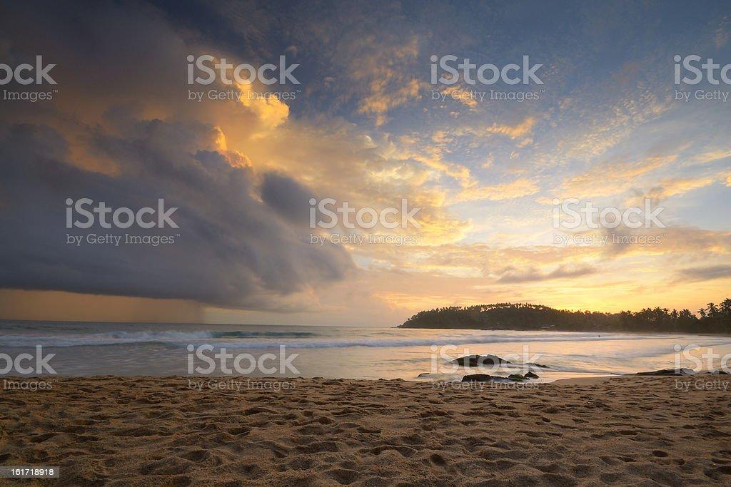 Monsoon rain at sunset royalty-free stock photo