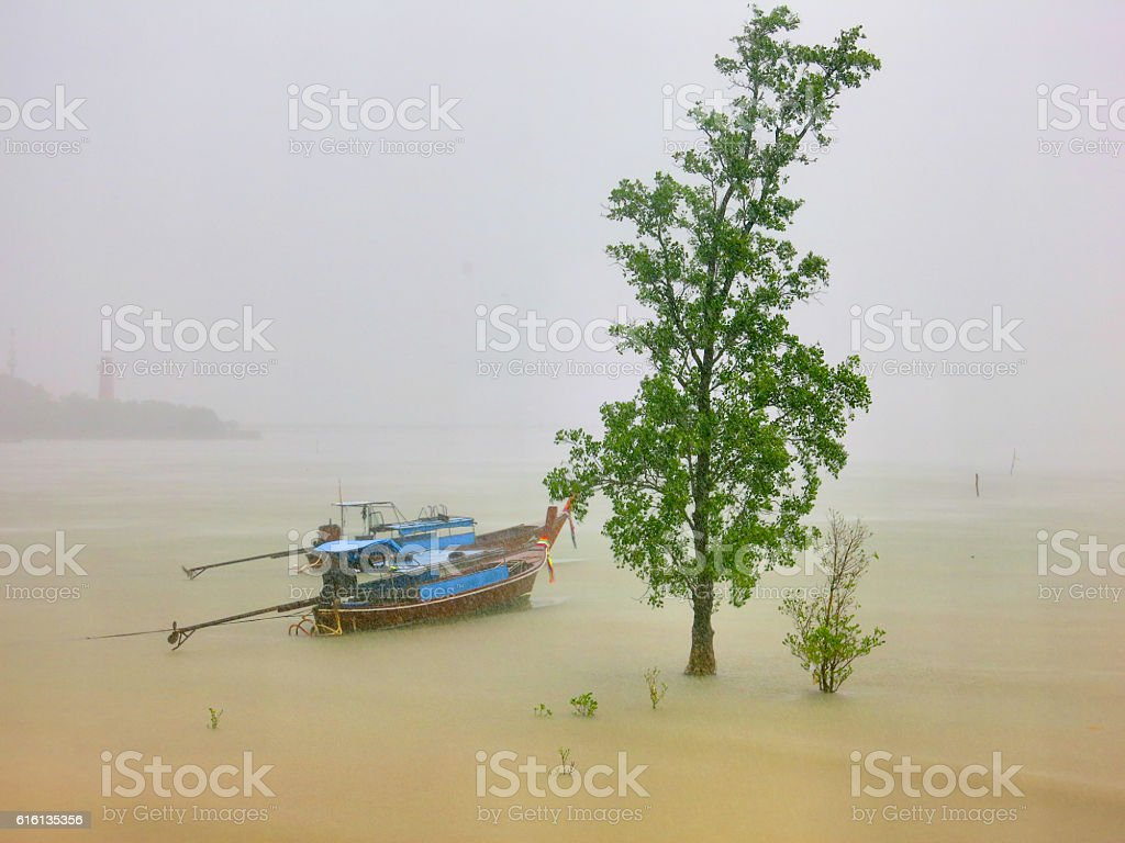 Monsoon Rain Season Longtail Traditional Fishing Boats Thailand stock photo