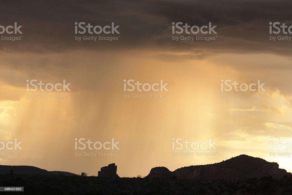 Monsoon Rain Storm Sunset Landscape stock photo