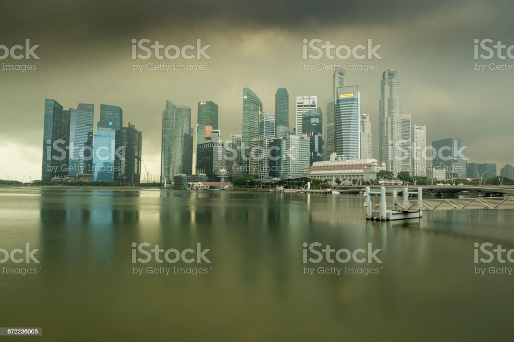 Monsoon storm over the Singapore modern business district stock photo