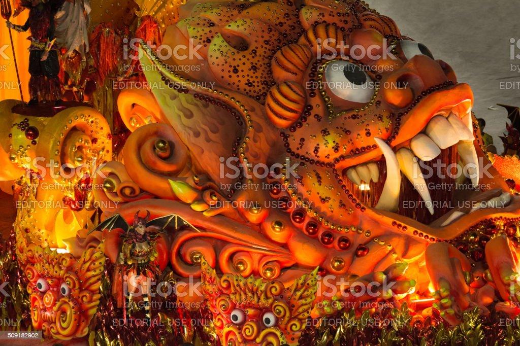 Monster dragon red Salgueiro float stock photo