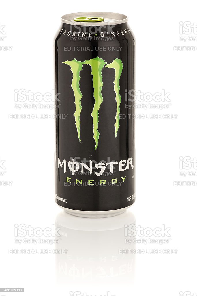 Monster Energy Drink in 16 oz can with Reflection stock photo