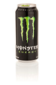 Monster Energy Drink in 16 oz can with Reflection