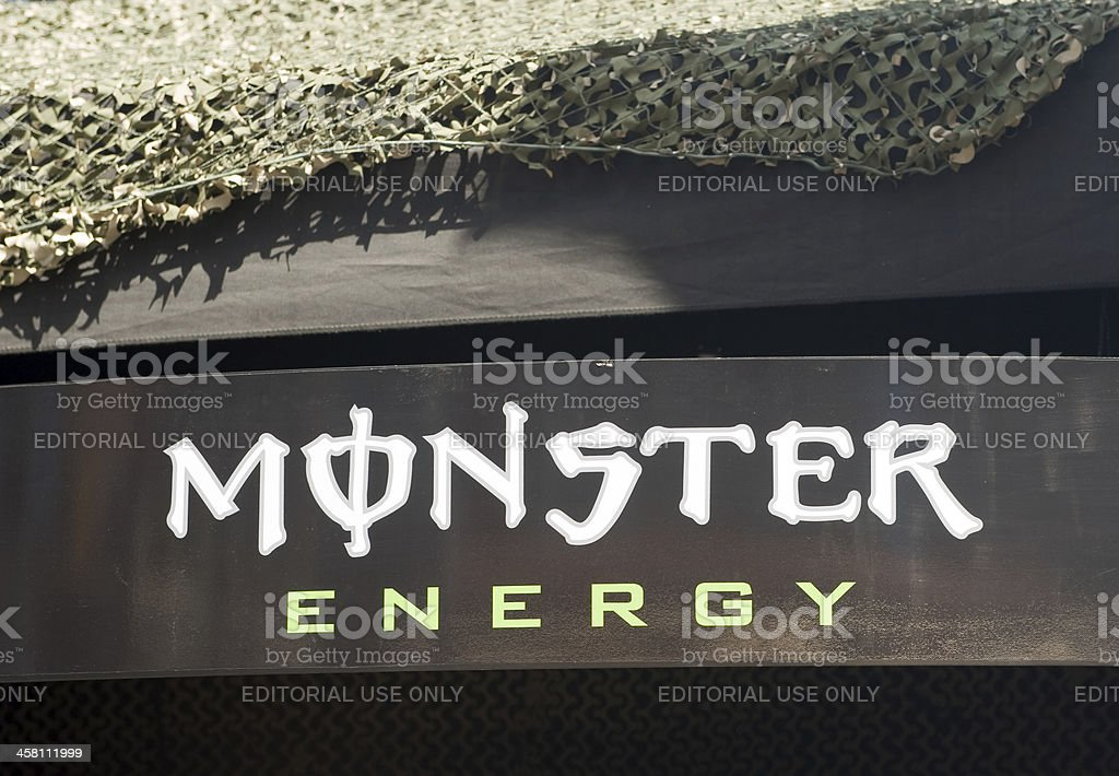Monster Energy Drink Logo on stand stock photo