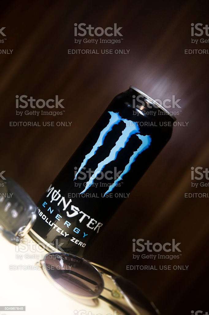 Monster Energy Drink with sunglasses and car-key stock photo