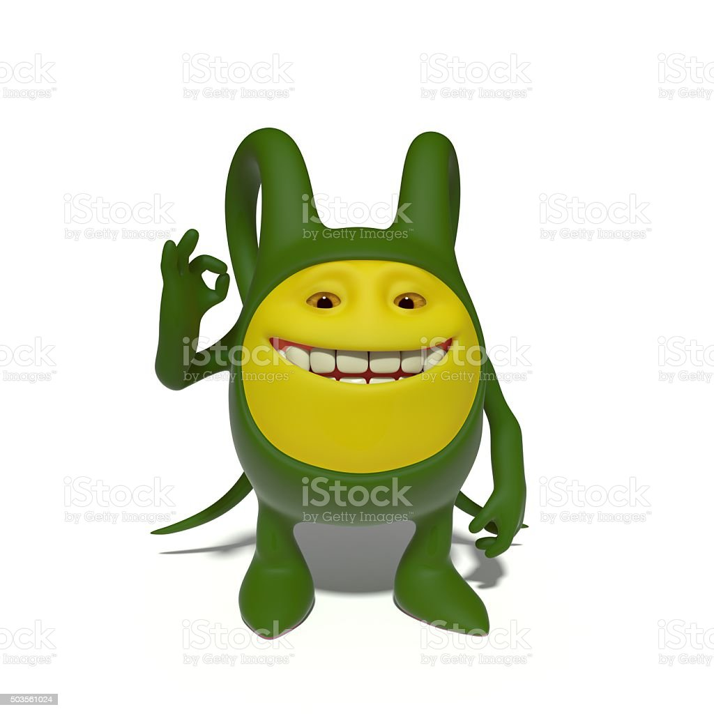 Monster gesturing OK stock photo