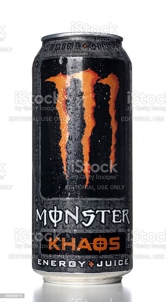 Monster Khaos Energy Drink can with water drops stock photo