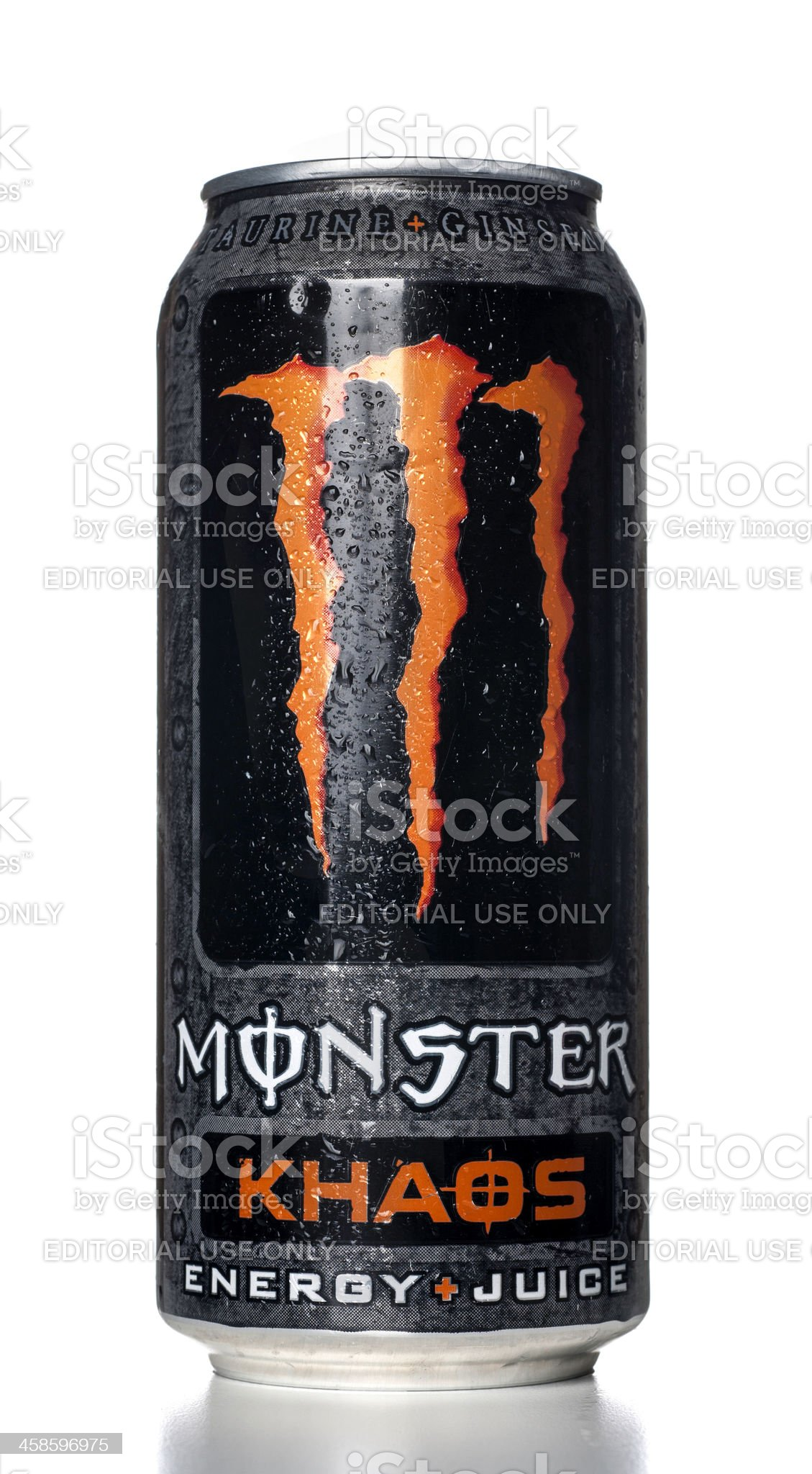 Monster Khaos Energy Drink can with water drops royalty-free stock photo