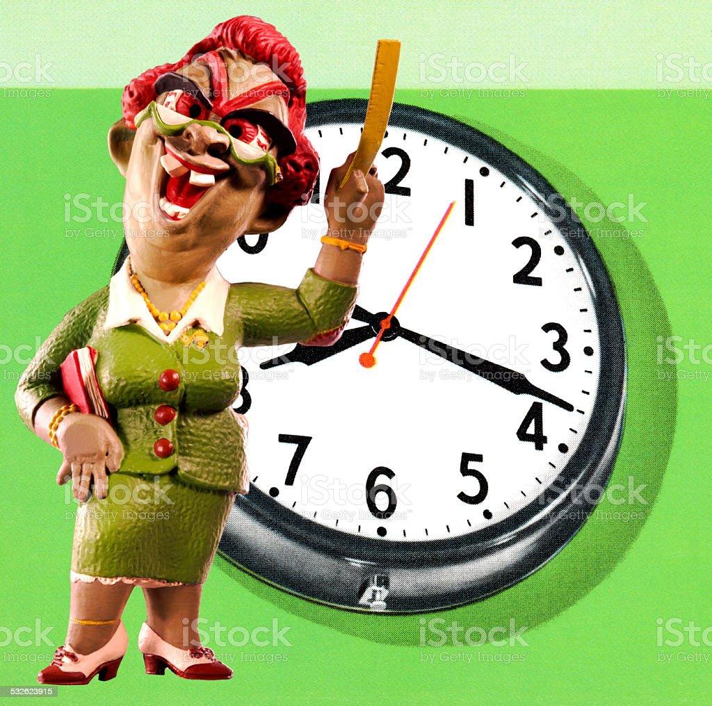 Monster Teacher and Clock stock photo