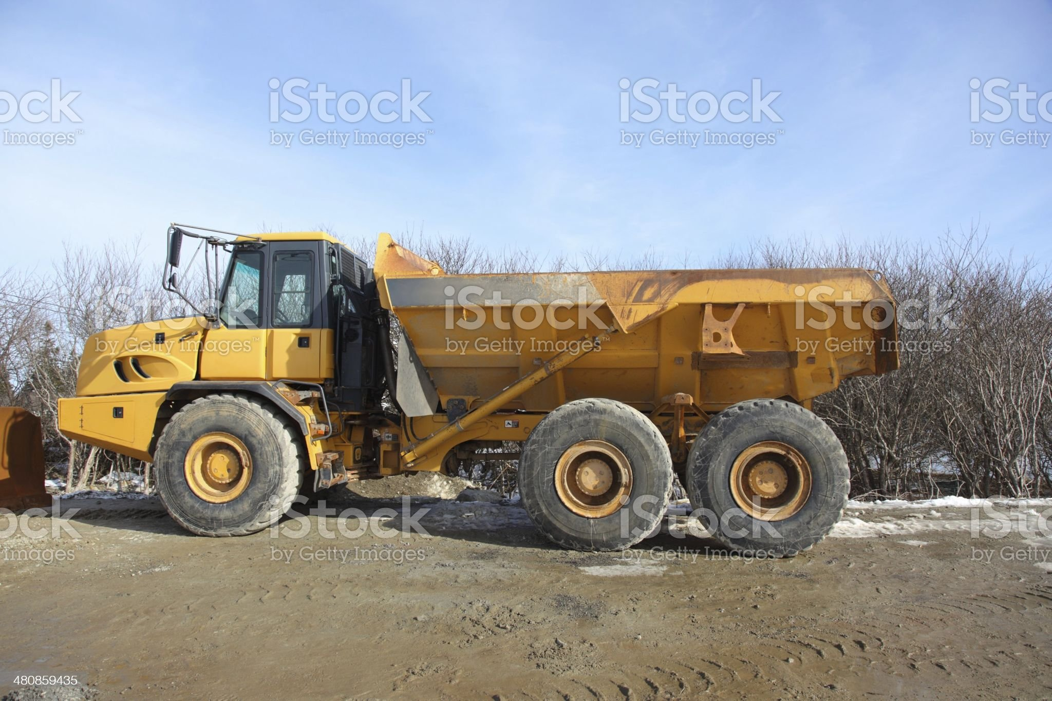 Monster truck at a construction site royalty-free stock photo