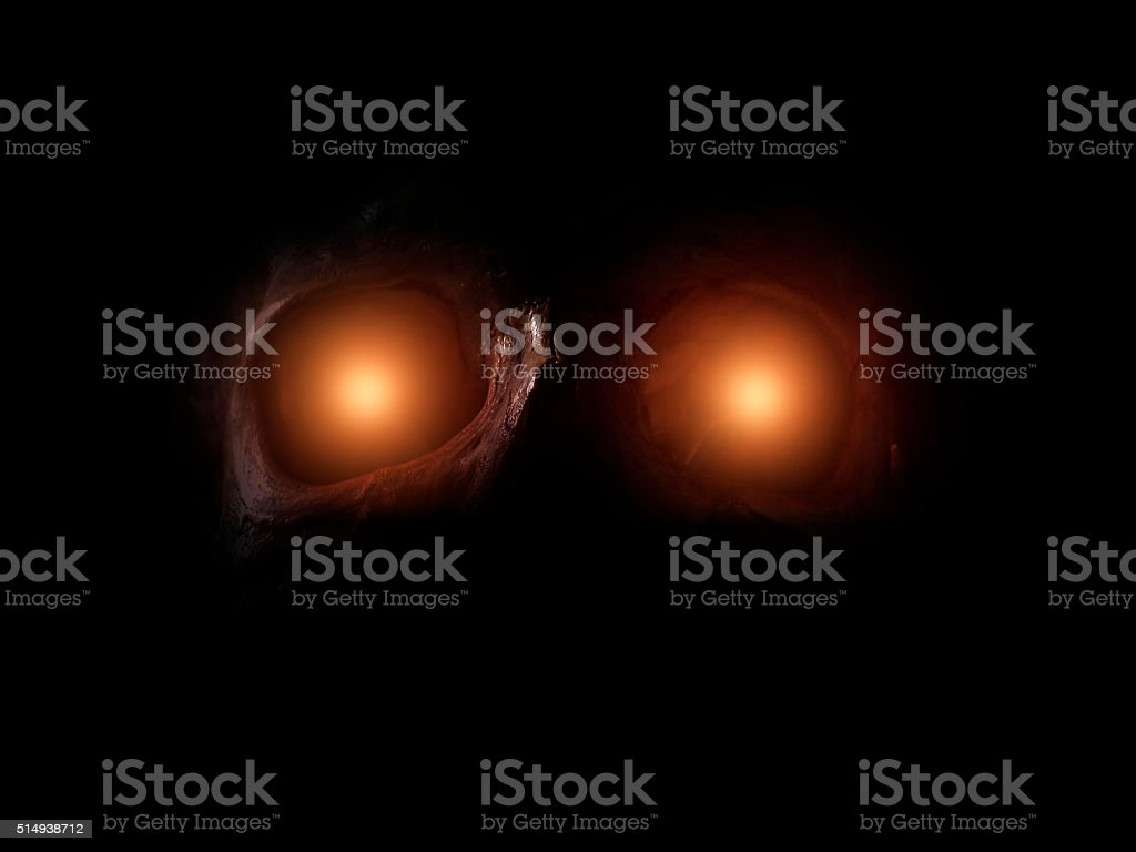 Monster with frightening eyes stock photo