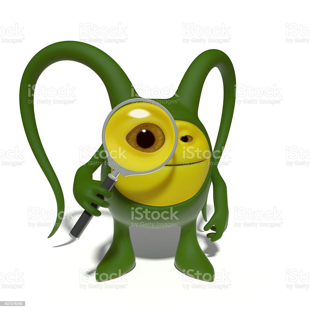 Monster with magnifying glass stock photo