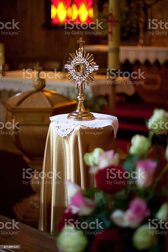 Monstrance in some lithuanian Roman Catholic church stock photo