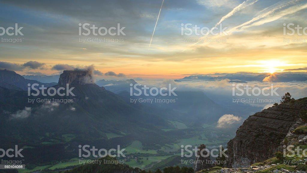 Mont Aiguille sunrise stock photo
