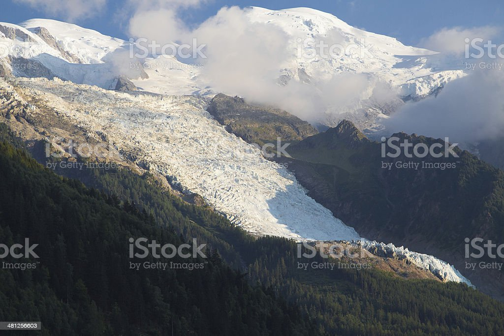 Mont Blanc and Bossons Glacier stock photo