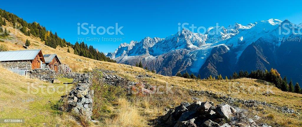 Mont Blanc autumn stock photo