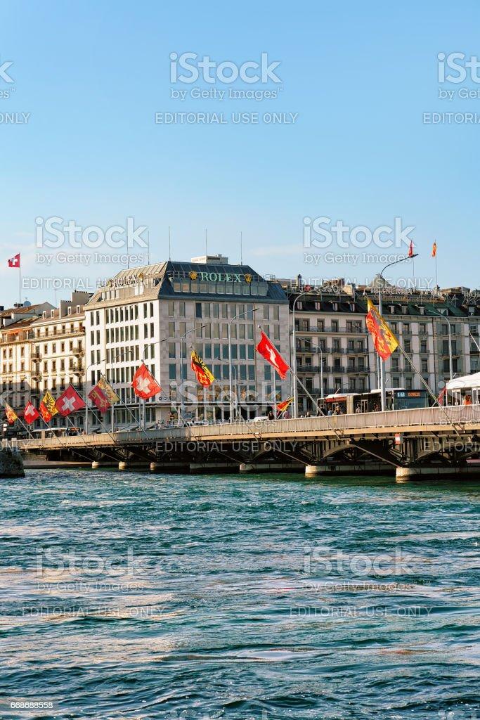 Mont Blanc bridge Swiss flags above Geneva Lake Swiss stock photo