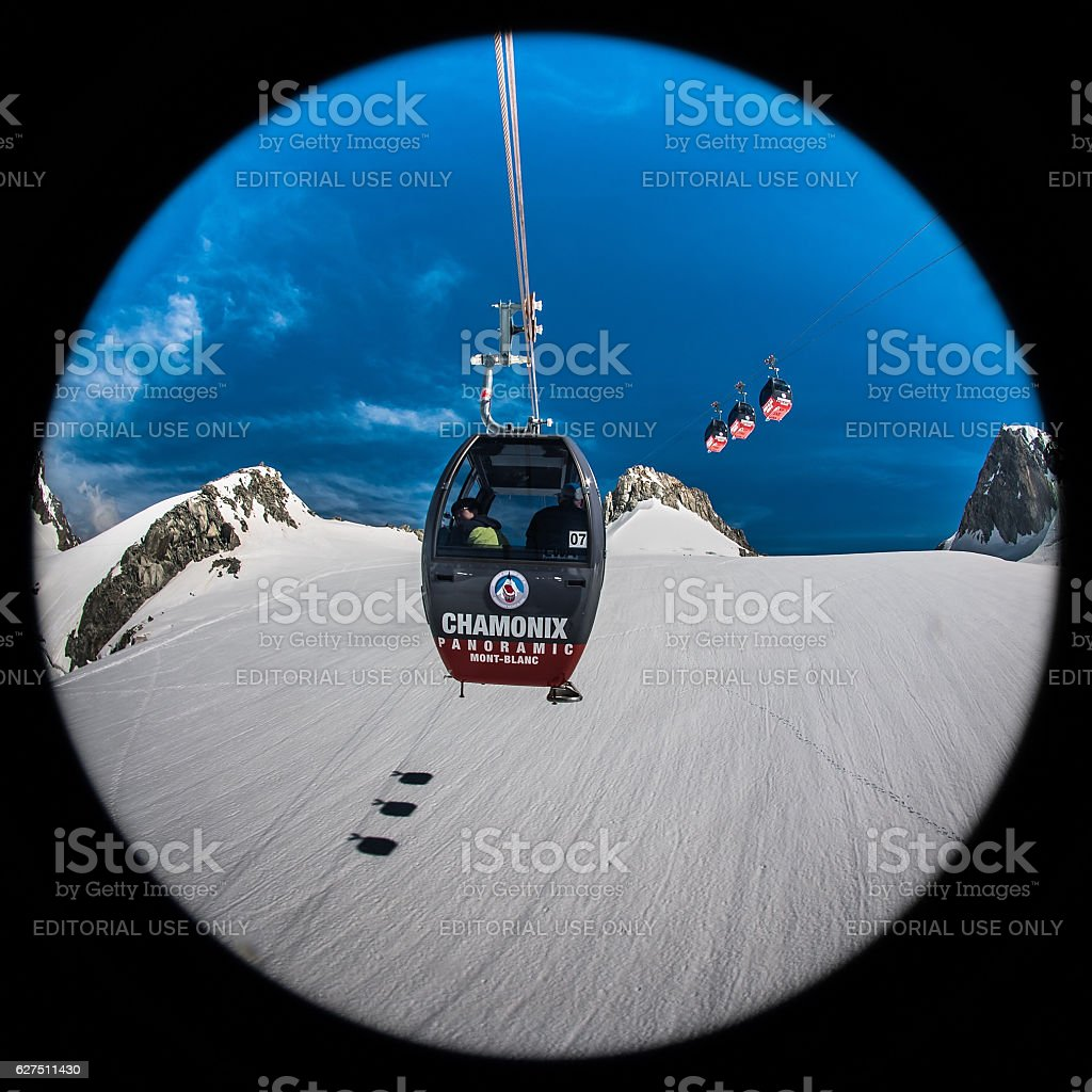 Mont Blanc Cable Car 3 stock photo