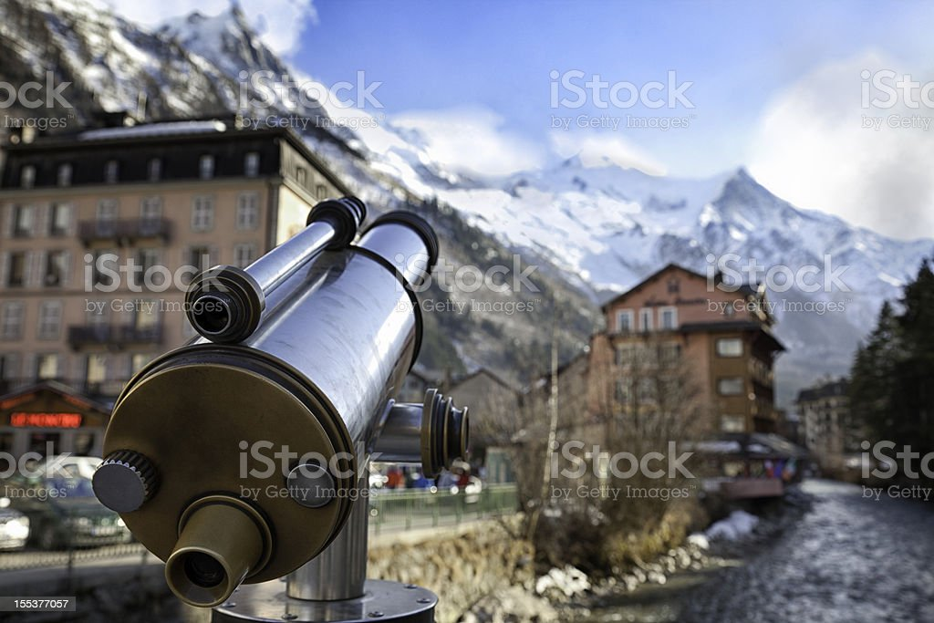 Mont Blanc, Chamonix Town and river Arve. stock photo