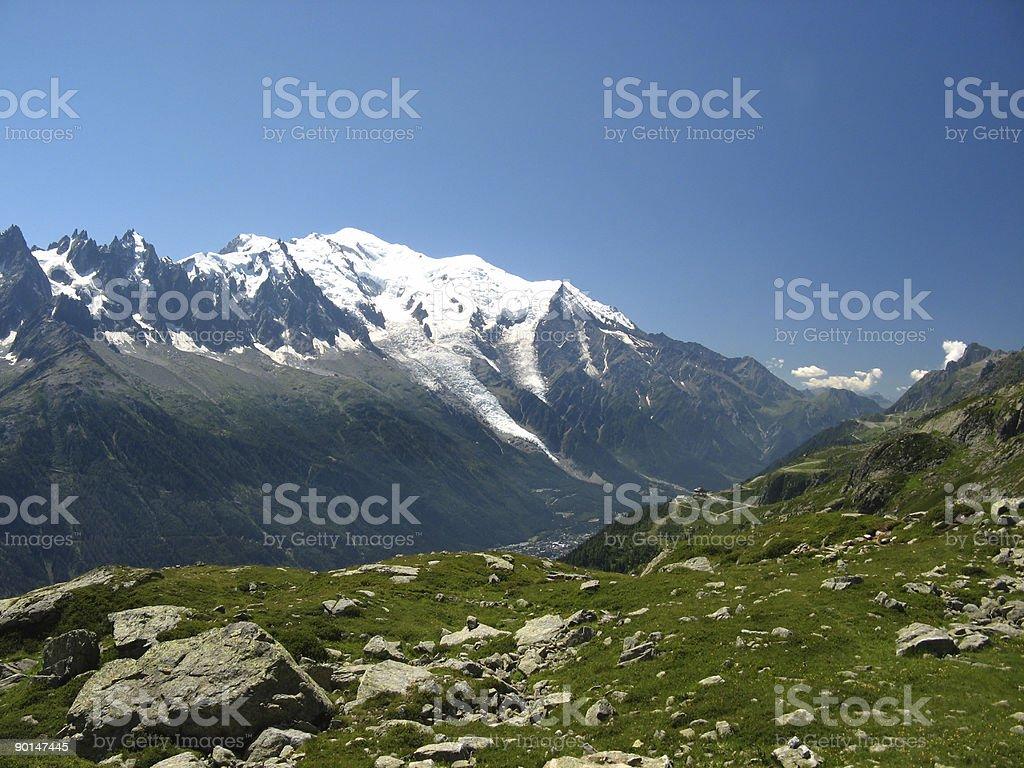 Mont Blanc from Chamonix stock photo