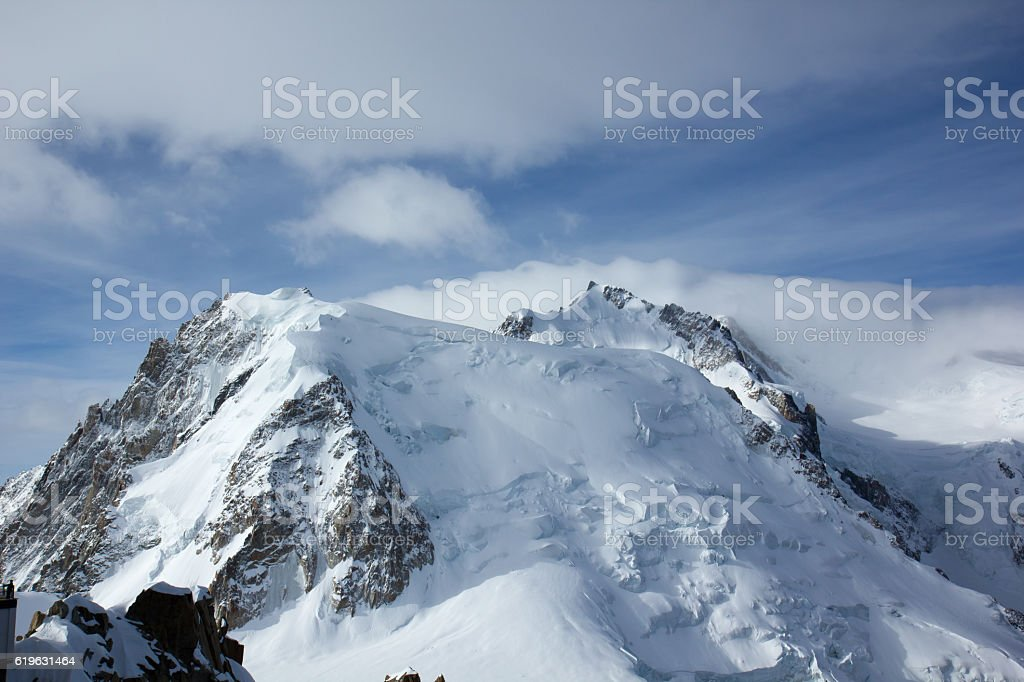 Mont Blanc from the  Aiguille du Midi, Chamonix, France stock photo