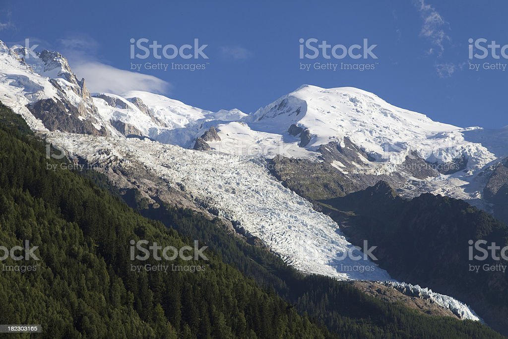 Mont Blanc, Gouter and Bossons Glacier stock photo