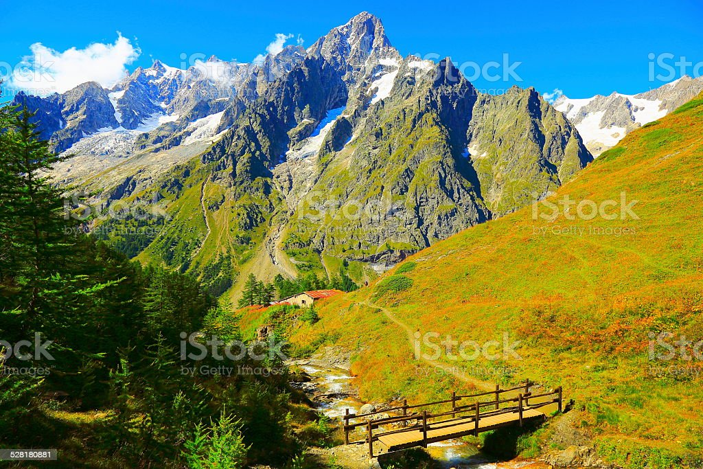Mont Blanc Grandes Jorasses and Alpine Meadows - Italy stock photo