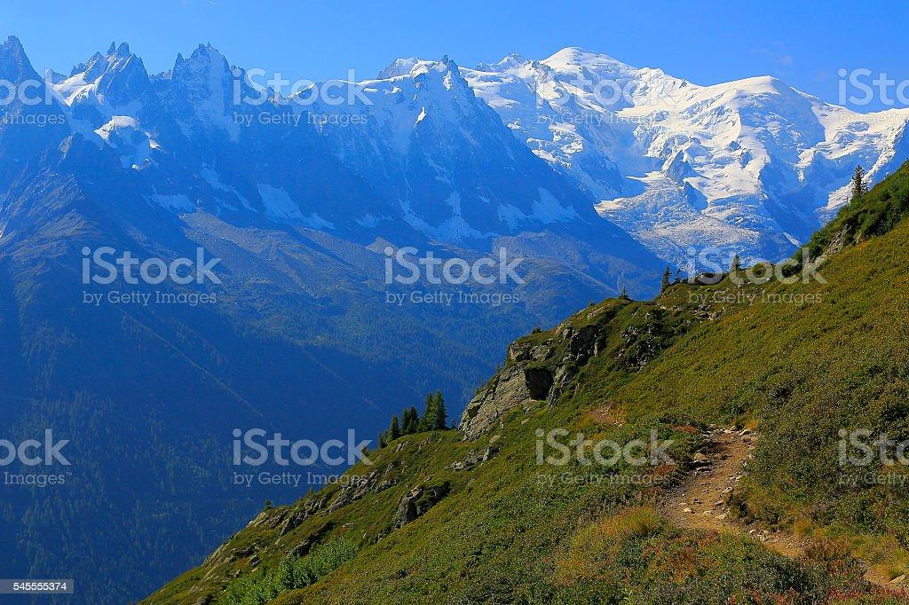 Mont Blanc idyllic alpine landscape countryside, path trail – Chamonix Alps stock photo
