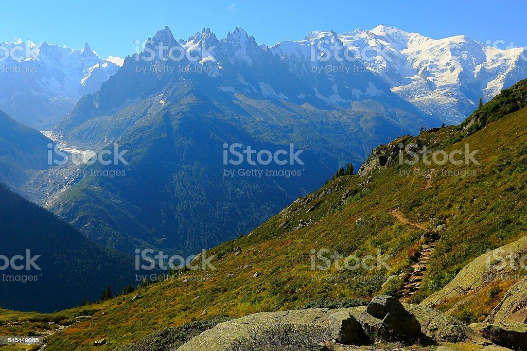 Mont Blanc idyllic alpine landscape countryside – trail path – Chamonix Alps stock photo