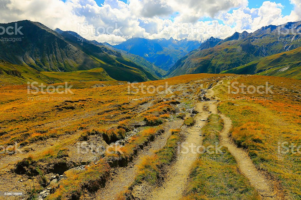 Mont Blanc Idyllic dramatic Alpine landscape, trail path, Aosta Valley stock photo
