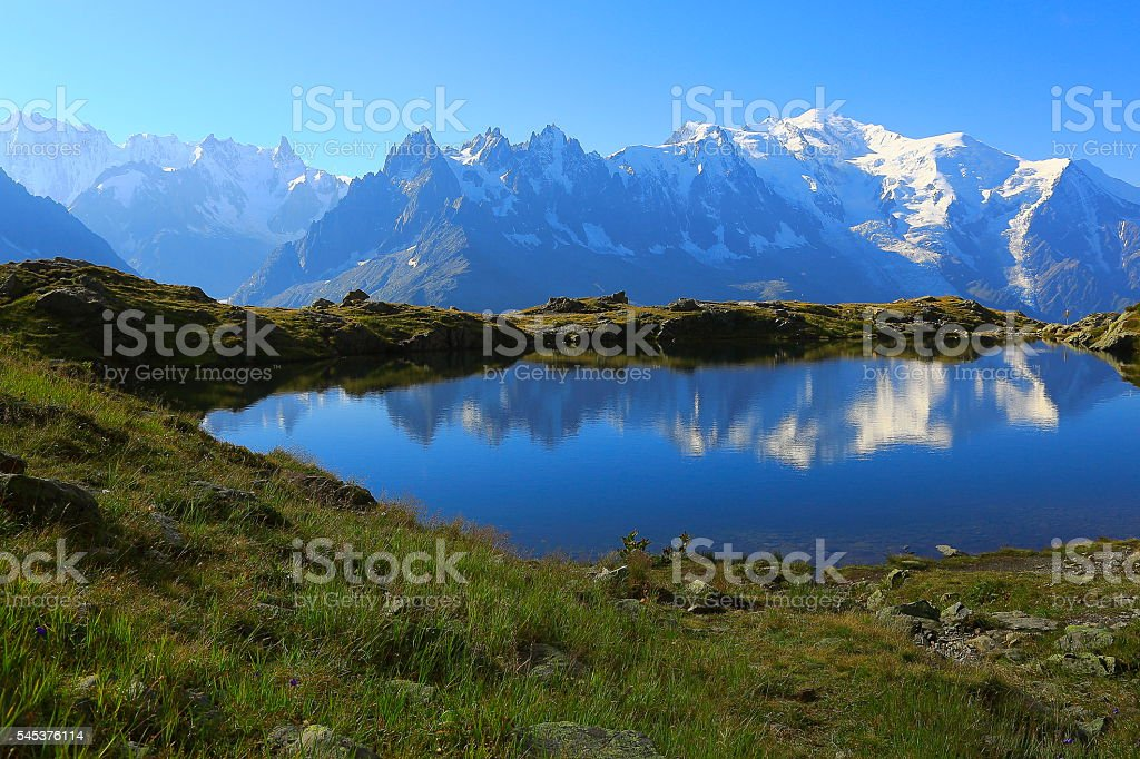 Mont Blanc, idyllic swiss lake Cheserys reflection, Chamonix, French Alps stock photo