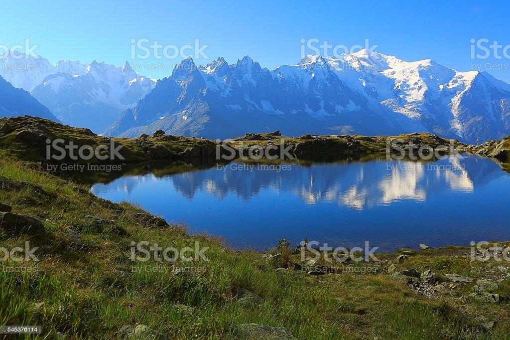 Mont Blanc, idyllic swiss lake Cheserys reflection, Chamonix, French Alps stock photo