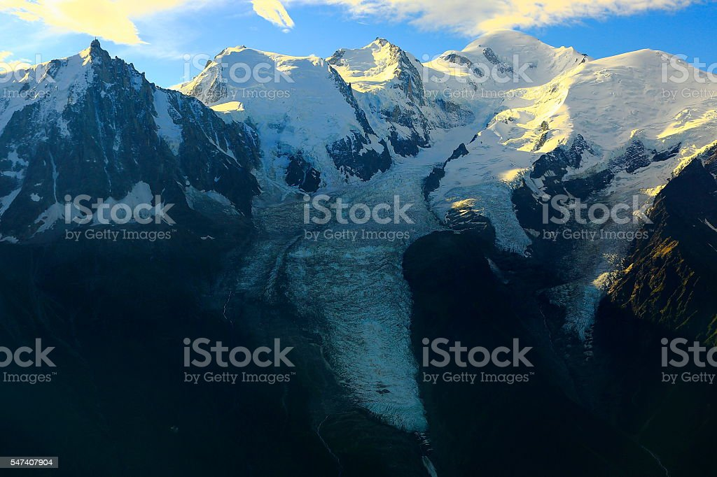 Mont Blanc massif and Bossons glacier sunrise, view from Brevent stock photo