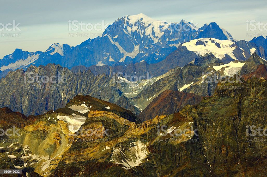 Mont Blanc Massif, Aosta and Grand Jorasses french alps stock photo