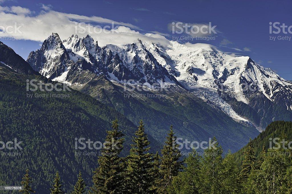 Mont Blanc massif Chamonix valley mountains France stock photo