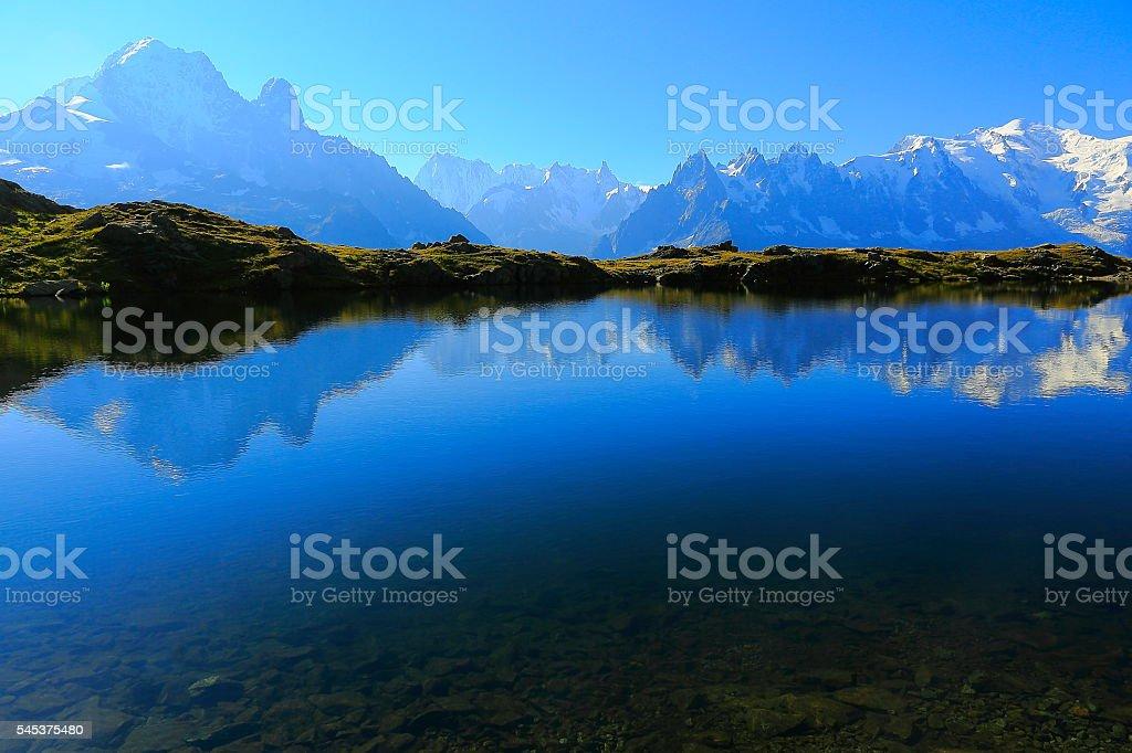 Mont Blanc Massif, idyllic lake Cheserys reflection, Chamonix, French Alps stock photo