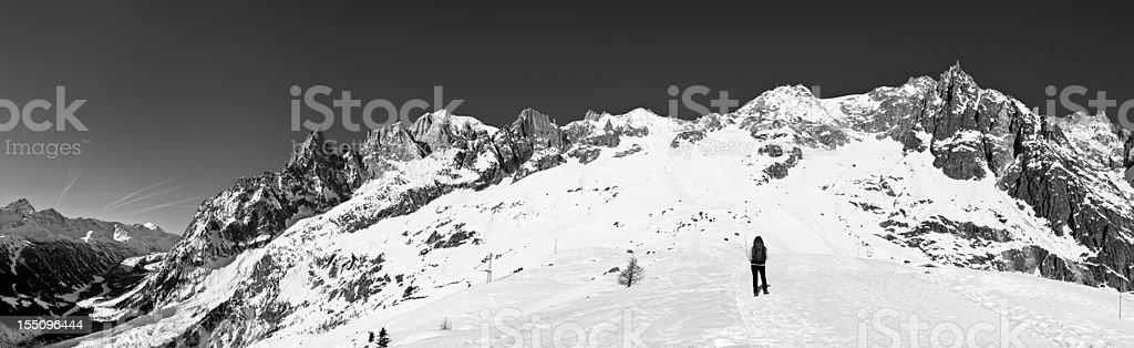Mont Blanc Massif in B&W stock photo