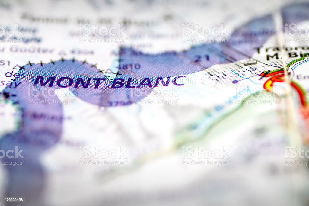 Mont Blanc massif on a map stock photo