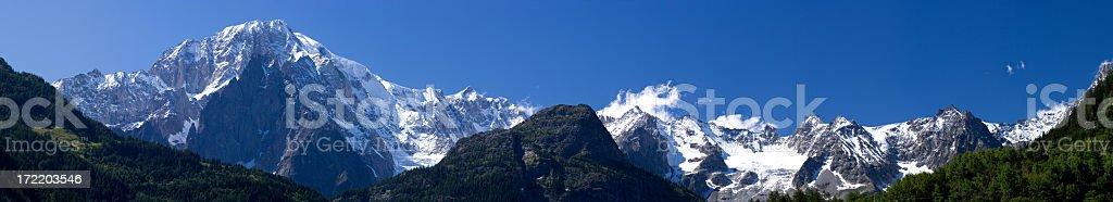Mont Blanc Massif panorama stock photo