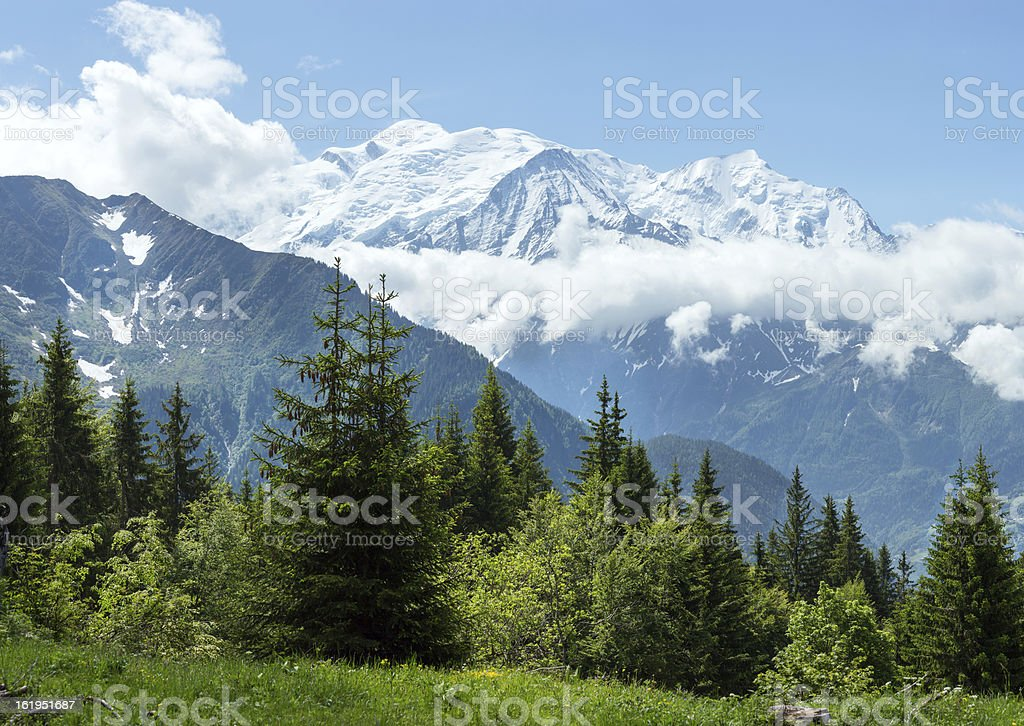 Mont Blanc mountain massif (view from Plaine Joux outskirts) stock photo