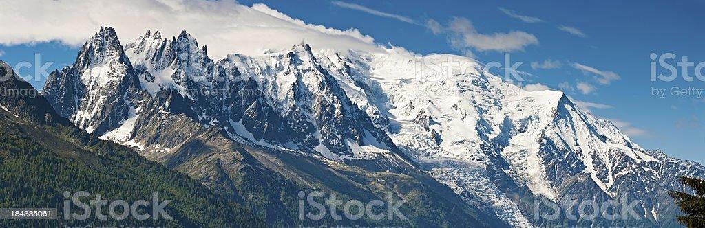 Mont Blanc mountain peaks panorama Chamonix France stock photo