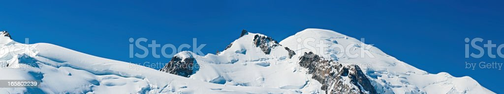 Mont Blanc mountaineers climbing summit super panorama France royalty-free stock photo