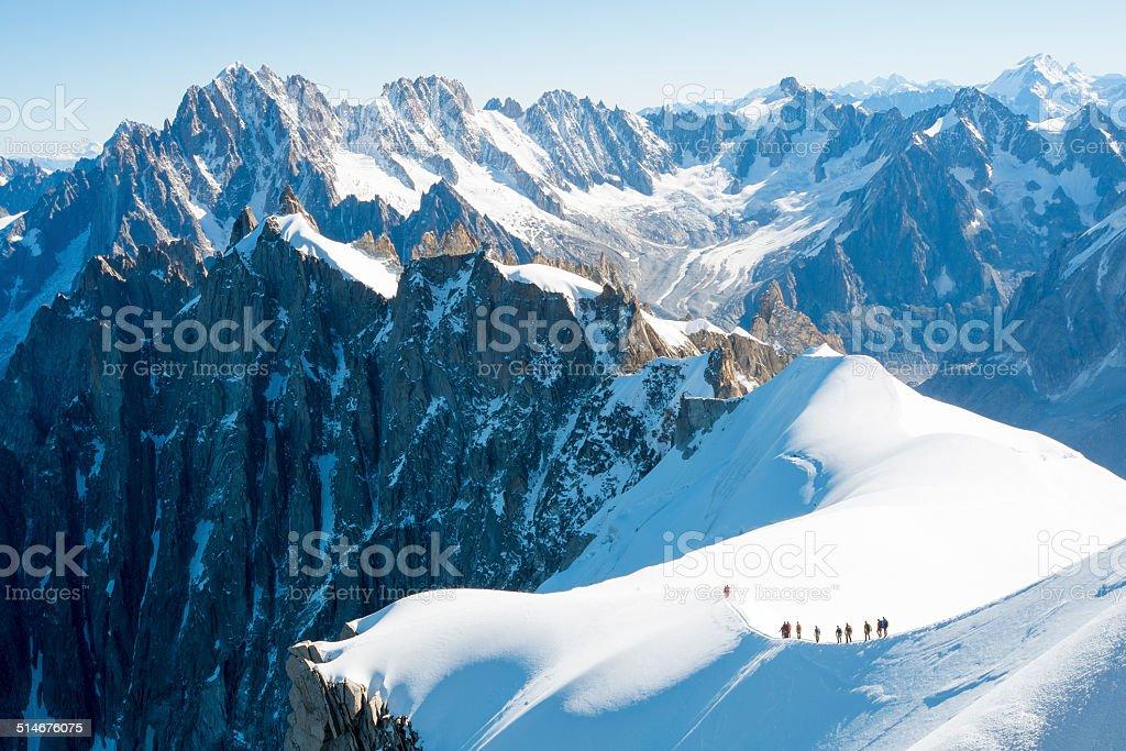 Mont Blanc mountaineers stock photo