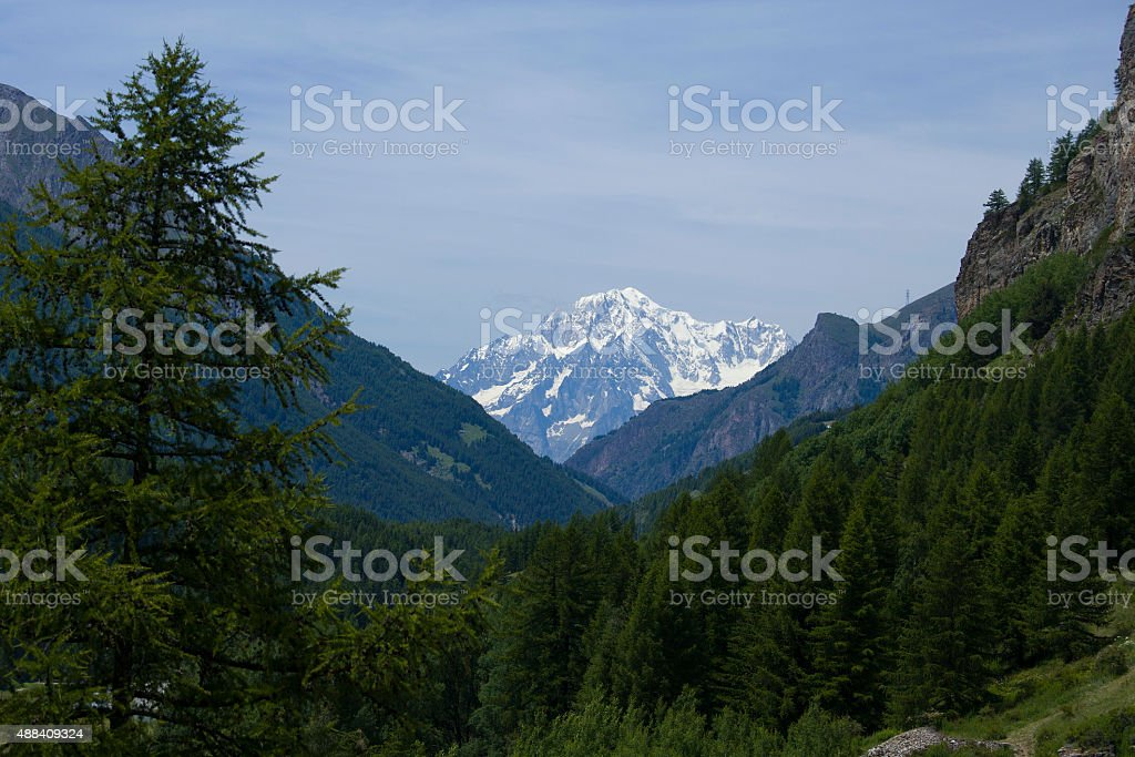 Mont Blanc peak from Italian side visible from Cogne stock photo