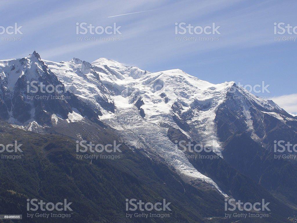 Mont Blanc range and glaciers stock photo