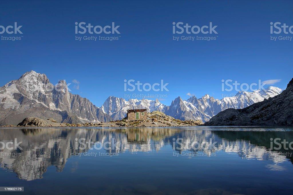 Mont Blanc reflecting in alpine lake, Chamonix, France stock photo
